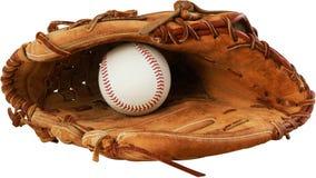 Перчатка бейсбола с шариком в ем - изолированное изображение Стоковая Фотография