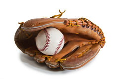 перчатка бейсбола шарика Стоковые Изображения
