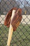 перчатка бейсбольной бита Стоковая Фотография