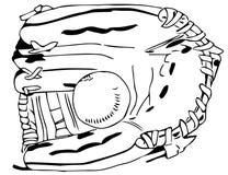 Перчатка бейсбола с шариком черно-белым Стоковое Фото