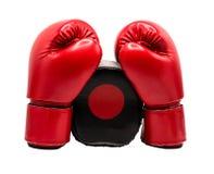 Перчатка бокса изолированная на белой предпосылке с путем клиппирования стоковое изображение