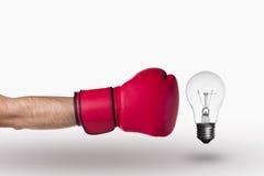 Перчатка и лампа бокса стоковое изображение