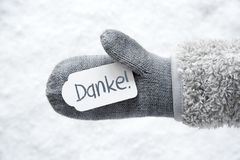 Перчатка шерстей, ярлык, снег, середины Danke спасибо стоковое изображение