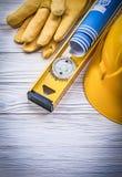 Перчатки безопасности строя construc технических чертежей шлема голубое Стоковое Изображение