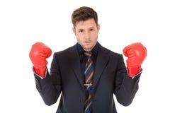 перчатки бизнесмена бокса кавказские молодые Стоковая Фотография RF