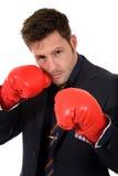 перчатки бизнесмена бокса кавказские молодые Стоковые Изображения