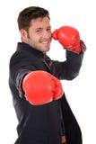 перчатки бизнесмена бокса кавказские успешные Стоковое Изображение RF