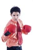 Перчатки бизнесмена и бокса на белизне Стоковая Фотография