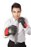 Перчатки бокса бизнесмена нося Стоковая Фотография RF