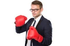 Перчатки бокса бизнесмена нося Стоковая Фотография
