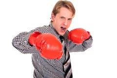 Перчатки бокса бизнесмена Стоковое Изображение