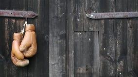Перчатки бокса вися на старой деревянной двери видеоматериал