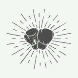 Перчатки бокса в винтажном стиле Monochrome графическое искусство иллюстрация вектора