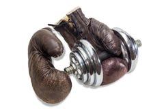 Перчатки гантели и бокса Стоковое Фото