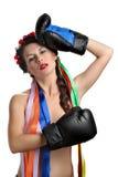 перчатки девушки бокса топлесс Стоковые Фото