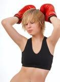 перчатки девушки красивейшего бокса подходящие красные Стоковые Изображения