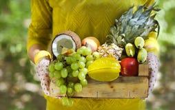 Перчатки женщины нося с свежими фруктами в коробке в ее руках Стоковые Фото