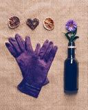 Перчатки женщин с сувенирами на холсте Стоковые Фото