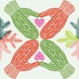 Перчатки зимы и сердца и хворостины, безшовная иллюстрация, предпосылка шаржа рождества, картины Стоковые Изображения RF