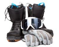 Перчатки изумлённых взглядов ботинок аксессуаров сноубординга Стоковое Изображение