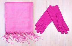 Перчатки и шарф на деревянной предпосылке, одежда на осень или зима Стоковая Фотография RF