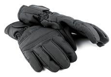 Перчатки лыжи черные Стоковое Изображение
