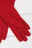 Перчатки на женщина на досках, одежда на осень или зима Стоковые Изображения RF