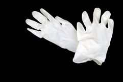 перчатки предпосылки черные изолировали белизну Стоковое Изображение RF