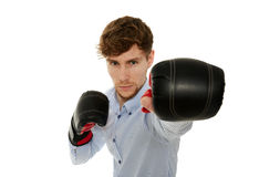 перчатки принципиальной схемы конкуренции бизнесмена бокса агрессивности стоковые фото