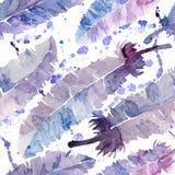 Пер акварели и картина помаркой безшовная Иллюстрация штока