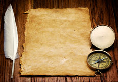 Пер и пергамент Quill Стоковые Изображения RF