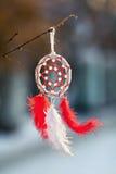 Пер и шарики красных цветов Dreamcatcher Стоковая Фотография
