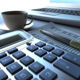 пер компьтер-книжки документа чалькулятора финансовохозяйственное Стоковые Изображения RF