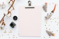 Пер насмешки доски сзажимом для бумаги поднимающие вверх и покрашенные на белой предпосылке Стоковое Изображение