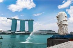 Пески залива Марины и портовый район, Сингапур Стоковая Фотография RF