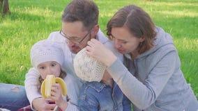 Песнопение отца, матери и 2 дочерей и сделать стороны на пикнике видеоматериал