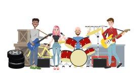 Песня игры диапазона рок-музыки на улице бесплатная иллюстрация