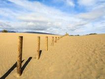 Песок в дюнах Maspalomas, малой пустыне на Gran Canaria Песок и небо, и запрещенное деревянной загородки отмечать Стоковое фото RF