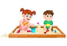 Песок игры детей счастливо иллюстрация штока