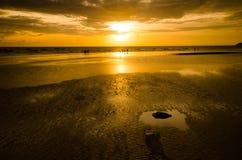 Песок и заход солнца Стоковая Фотография RF
