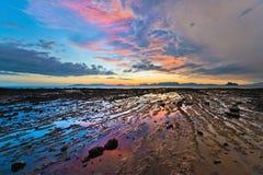 Песок и заход солнца Стоковая Фотография