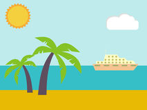 Песок на пляже лета около тропического моря иллюстрация вектора