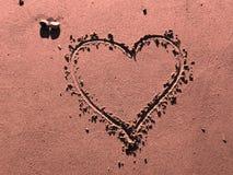 песок сердца розовый Стоковая Фотография