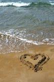 песок сердца стоковое фото