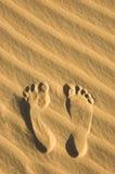 песок следа ноги Стоковое Изображение