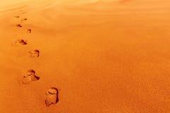 песок следов ноги дюны Стоковые Изображения