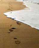 песок следов ноги Стоковые Изображения