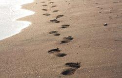 песок следов ноги пляжа влажный Стоковое фото RF