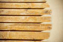 Песок дюн на деревянном настиле Стоковая Фотография