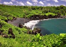 песок maui пляжа черный Стоковое Изображение
